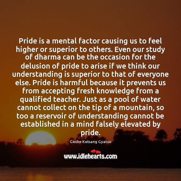 Pride is a mental factor causing us to feel higher or superior Geshe Kelsang Gyatso Picture Quote