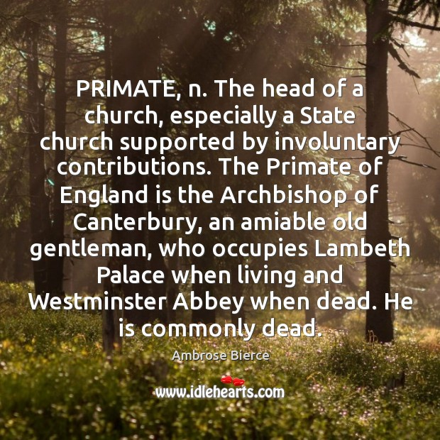 Image, PRIMATE, n. The head of a church, especially a State church supported