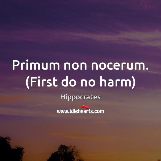 Primum non nocerum. (First do no harm) Hippocrates Picture Quote