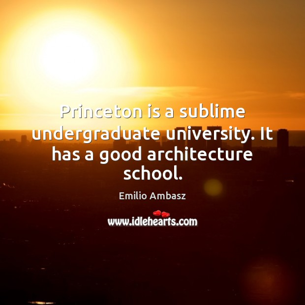 Princeton is a sublime undergraduate university. It has a good architecture school. Image