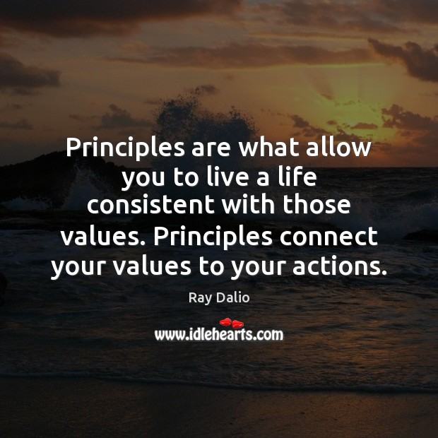 Principles are what allow you to live a life consistent with those Image