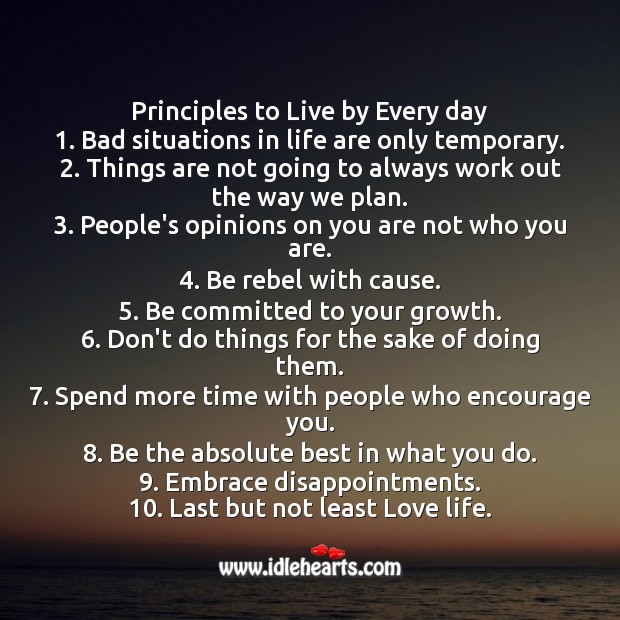 Principles to Live by Every day Encouraging Quotes about Life Image