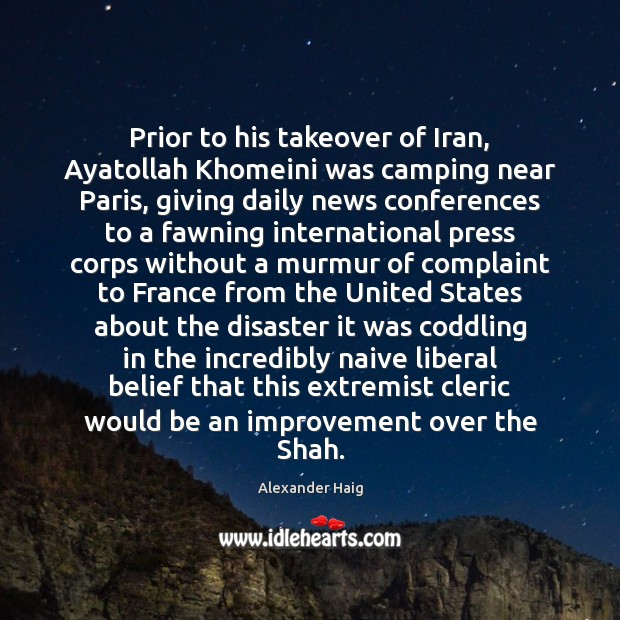 Image, Prior to his takeover of Iran, Ayatollah Khomeini was camping near Paris,