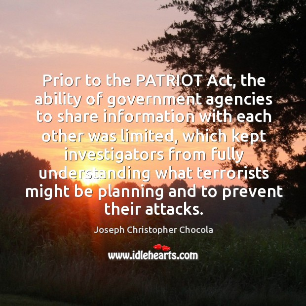 Prior to the patriot act, the ability of government agencies to share information with Image
