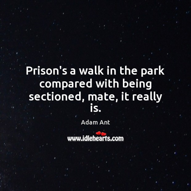 Image, Prison's a walk in the park compared with being sectioned, mate, it really is.