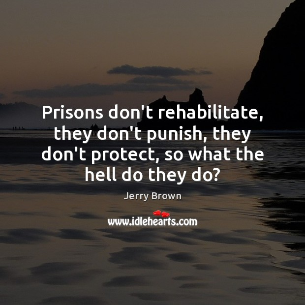 Prisons don't rehabilitate, they don't punish, they don't protect, so what the Image