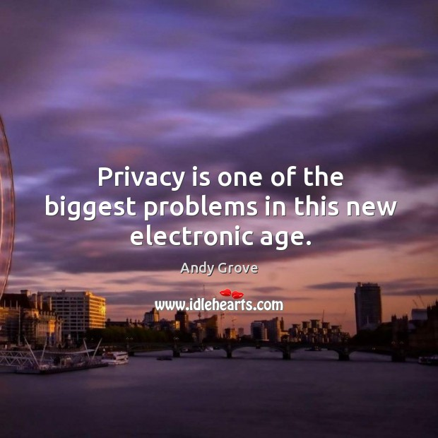 Privacy is one of the biggest problems in this new electronic age. Andy Grove Picture Quote