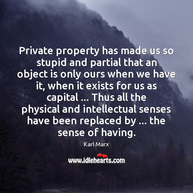 Image, Private property has made us so stupid and partial that an object
