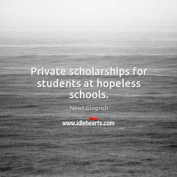 Private scholarships for students at hopeless schools. Image