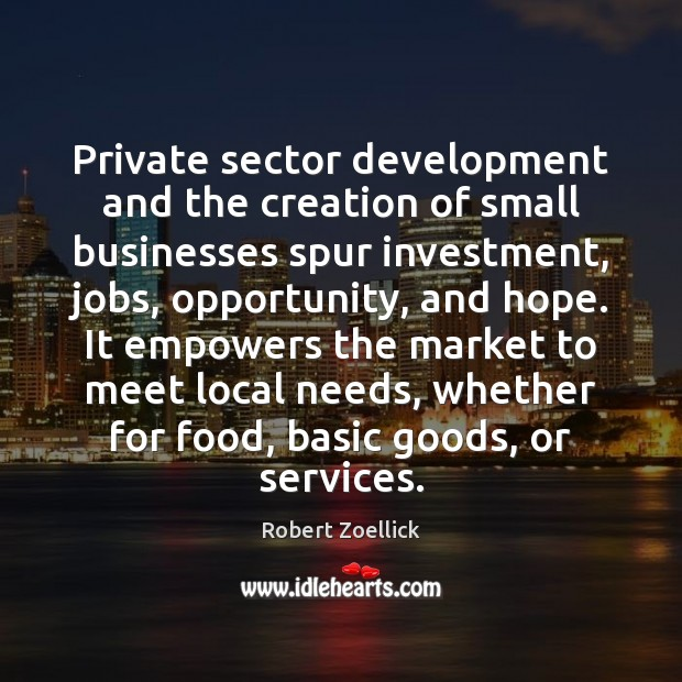 Private sector development and the creation of small businesses spur investment, jobs, Investment Quotes Image