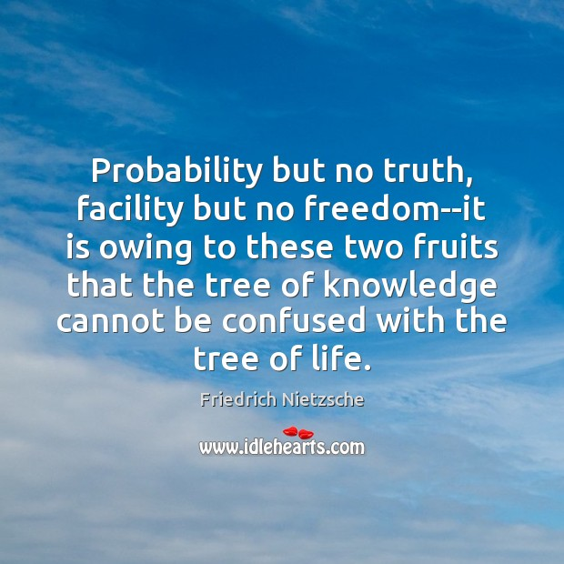 Image, Probability but no truth, facility but no freedom–it is owing to these