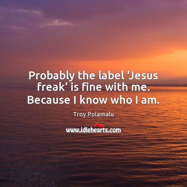 Probably the label 'Jesus freak' is fine with me. Because I know who I am. Troy Polamalu Picture Quote