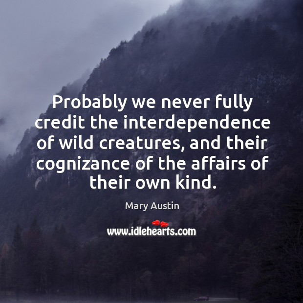 Probably we never fully credit the interdependence of wild creatures, and their cognizance of the Image