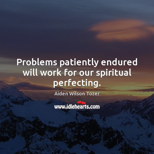 Image, Problems patiently endured will work for our spiritual perfecting.