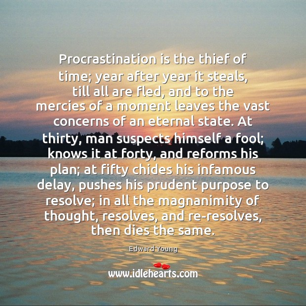 Procrastination is the thief of time; year after year it steals, till Image