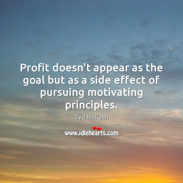 Profit doesn't appear as the goal but as a side effect of pursuing motivating principles. Ted Malloch Picture Quote