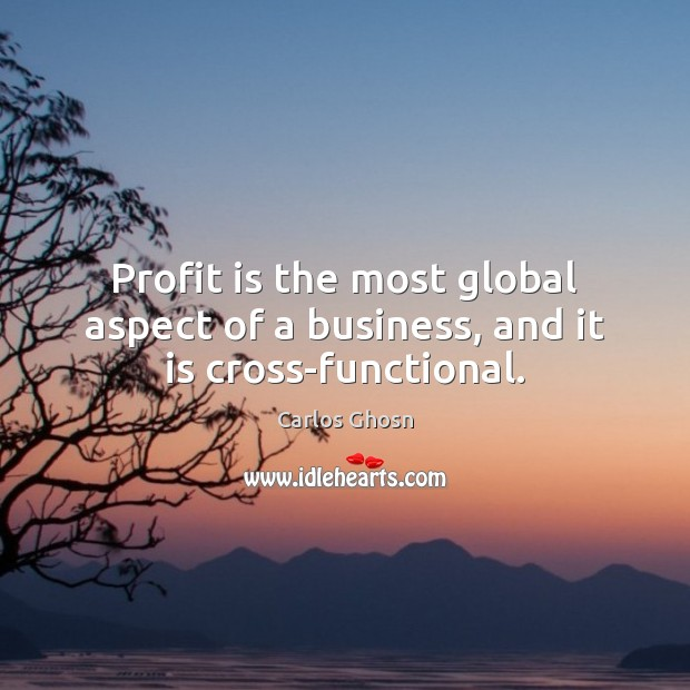 Image, Profit is the most global aspect of a business, and it is cross-functional.