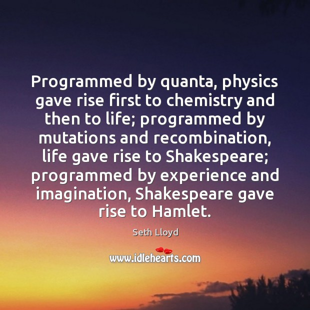 Programmed by quanta, physics gave rise first to chemistry and then to Image
