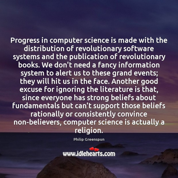 Image, Progress in computer science is made with the distribution of revolutionary software