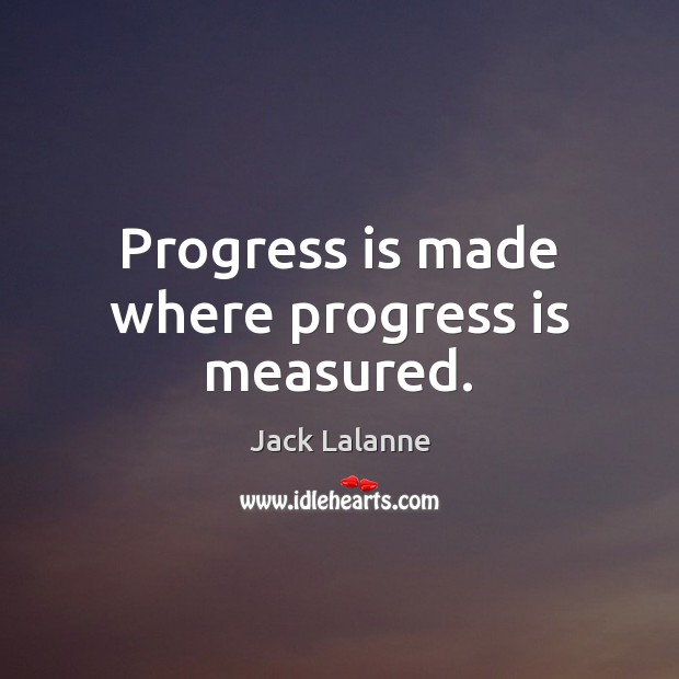 Progress is made where progress is measured. Image