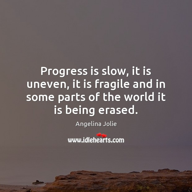 Progress is slow, it is uneven, it is fragile and in some Image