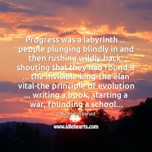 Progress was a labyrinth … people plunging blindly in and then rushing wildly Image