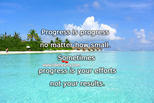 Progress is your efforts not your results. Image