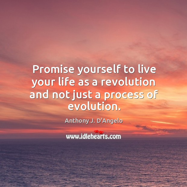 Image, Promise yourself to live your life as a revolution and not just a process of evolution.