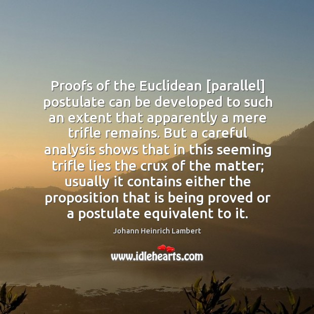 Proofs of the Euclidean [parallel] postulate can be developed to such an Image