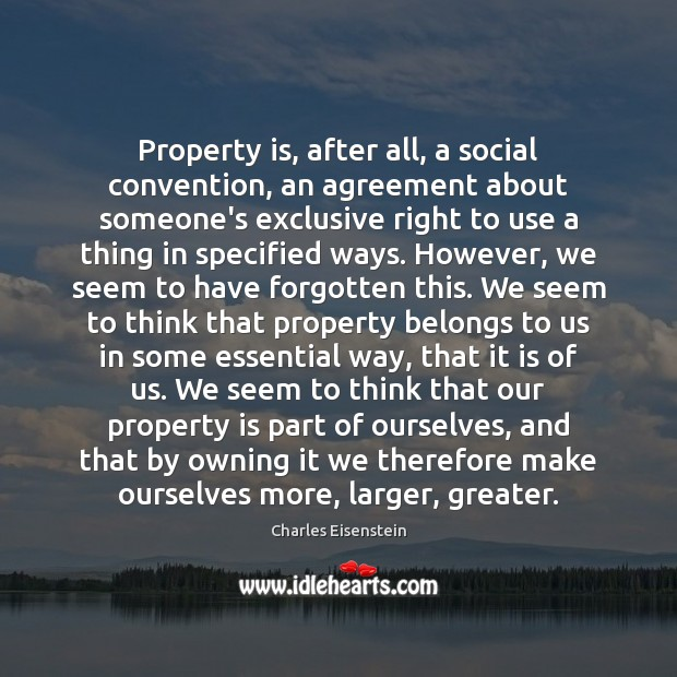 Property is, after all, a social convention, an agreement about someone's exclusive Image