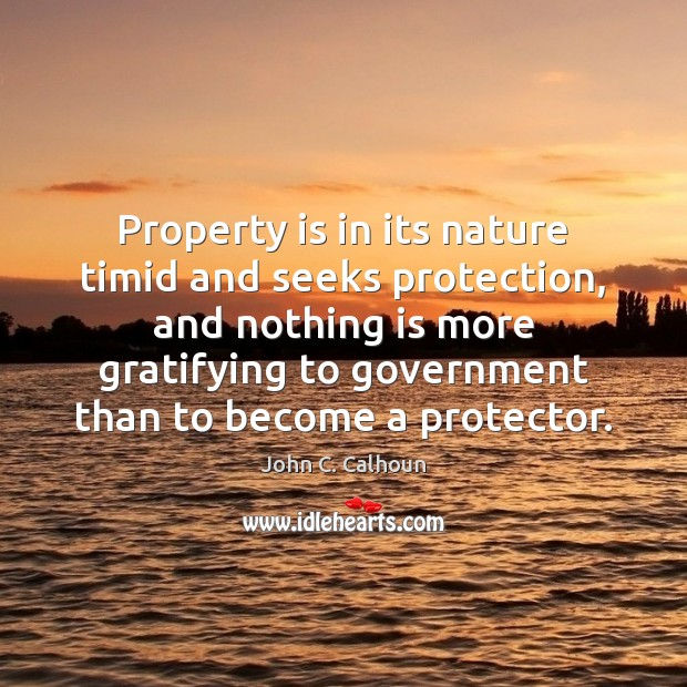 Property is in its nature timid and seeks protection, and nothing is Image