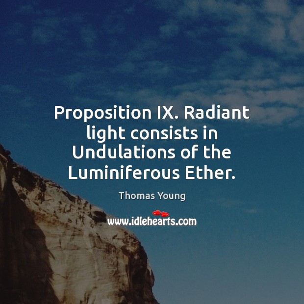 Proposition IX. Radiant light consists in Undulations of the Luminiferous Ether. Image