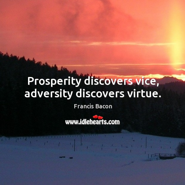 Prosperity discovers vice, adversity discovers virtue. Image