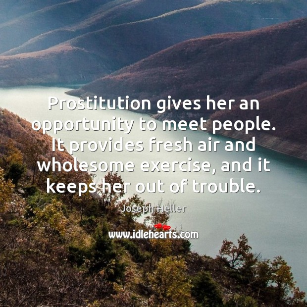 Prostitution gives her an opportunity to meet people. It provides fresh air Joseph Heller Picture Quote