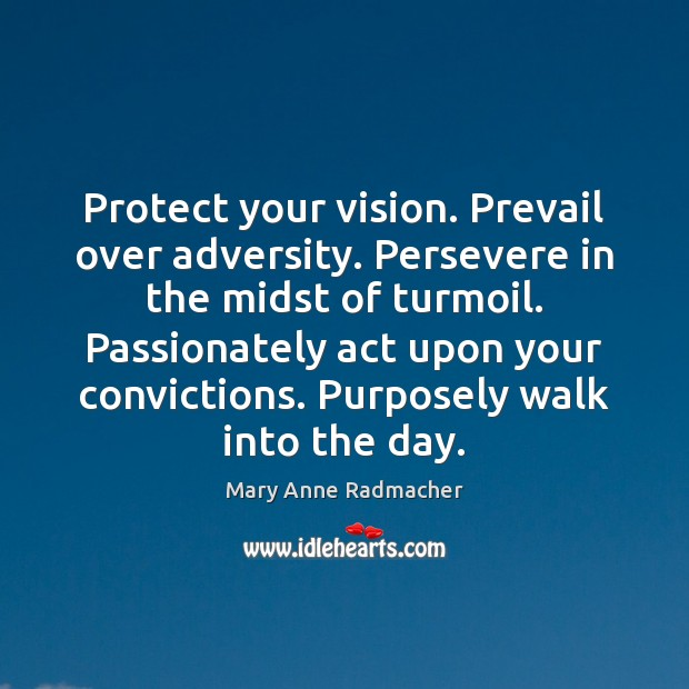 Protect your vision. Prevail over adversity. Persevere in the midst of turmoil. Mary Anne Radmacher Picture Quote