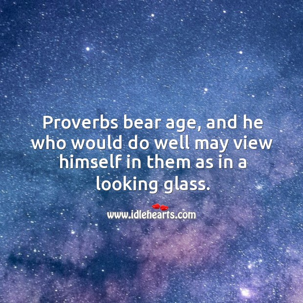 Image, Proverbs bear age, and he who would do well may view himself in them as in a looking glass.