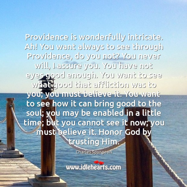 Providence is wonderfully intricate. Ah! You want always to see through Providence, Image