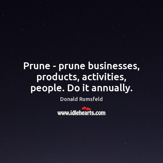 Image, Prune – prune businesses, products, activities, people. Do it annually.