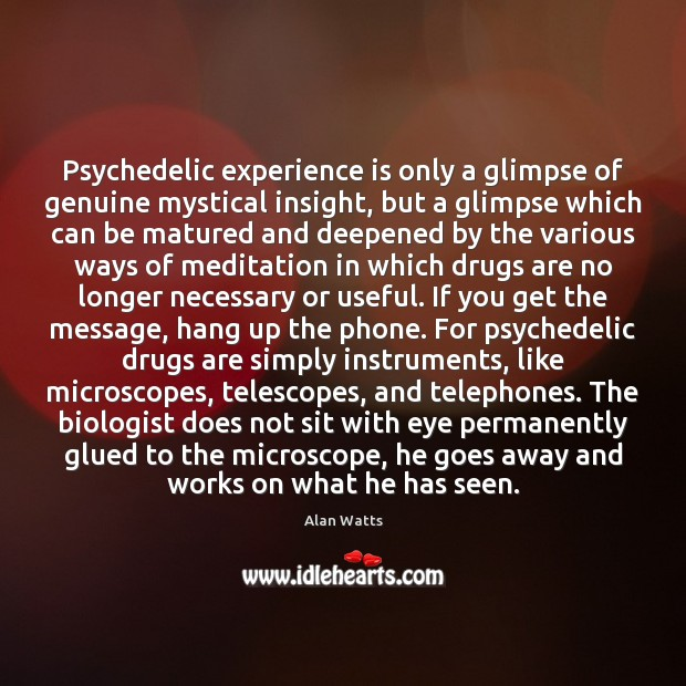 Psychedelic experience is only a glimpse of genuine mystical insight, but a Image