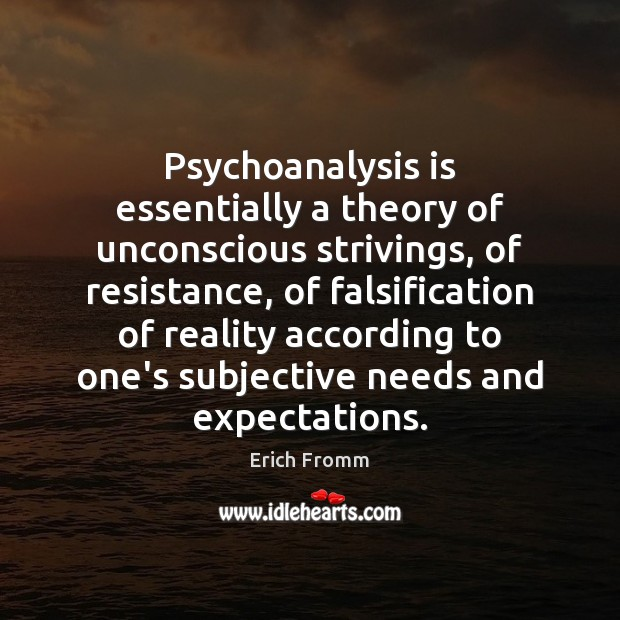 Psychoanalysis is essentially a theory of unconscious strivings, of resistance, of falsification Erich Fromm Picture Quote