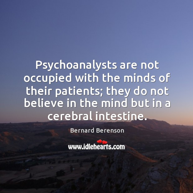 Psychoanalysts are not occupied with the minds of their patients; Bernard Berenson Picture Quote