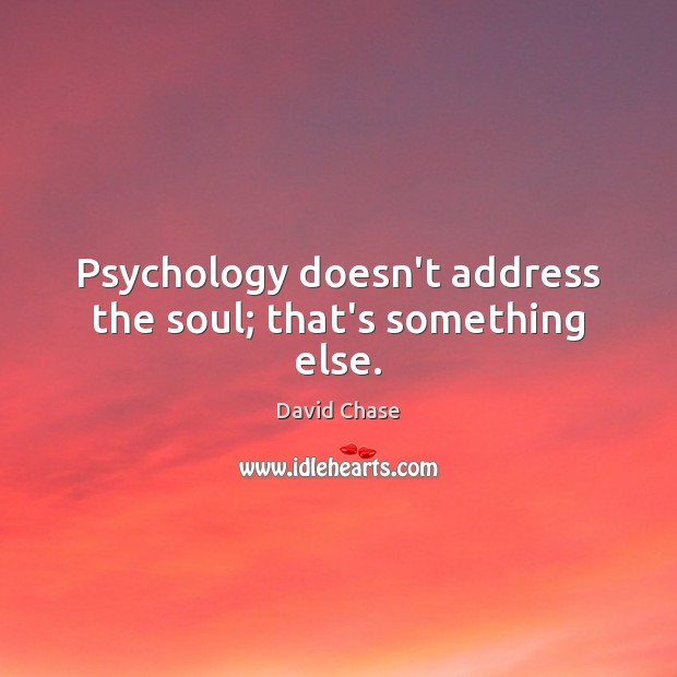Psychology doesn't address the soul; that's something else. David Chase Picture Quote