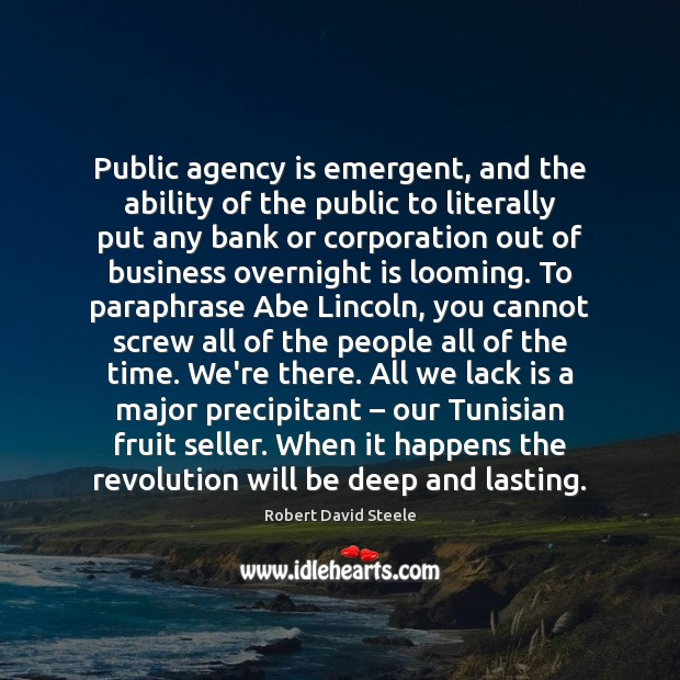 Public agency is emergent, and the ability of the public to literally Image