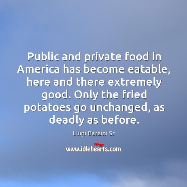 Public and private food in america has become eatable, here and there extremely good. Image