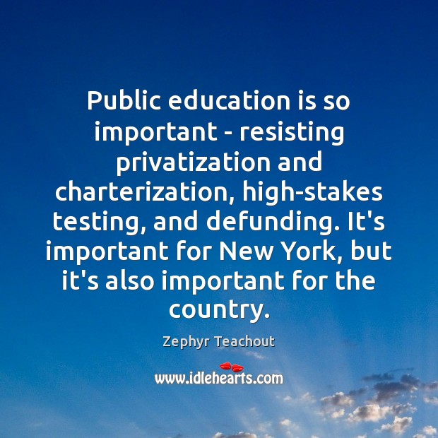Public education is so important – resisting privatization and charterization, high-stakes testing, Zephyr Teachout Picture Quote
