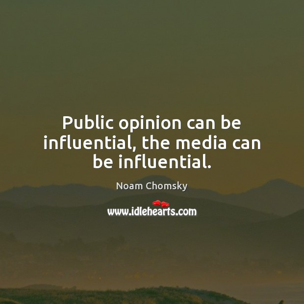 Public opinion can be influential, the media can be influential. Image
