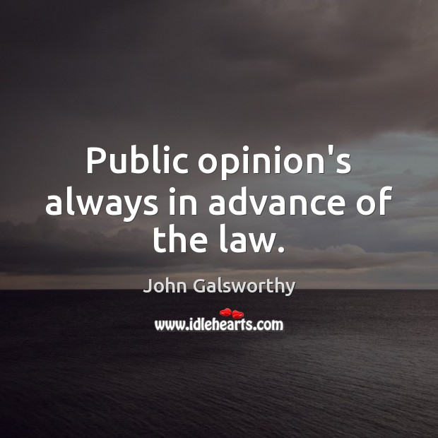 Public opinion's always in advance of the law. John Galsworthy Picture Quote