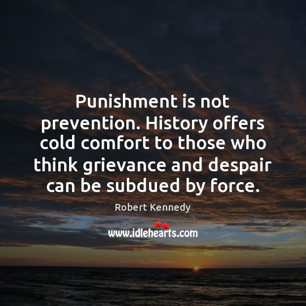 Punishment is not prevention. History offers cold comfort to those who think Punishment Quotes Image