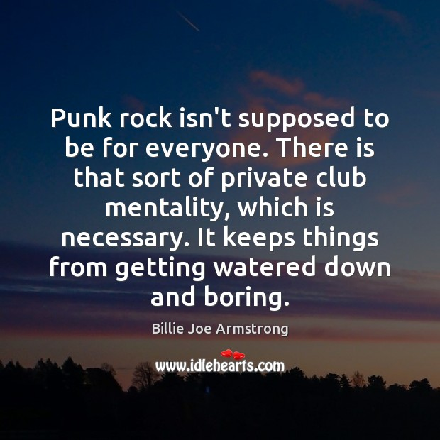 Punk rock isn't supposed to be for everyone. There is that sort Billie Joe Armstrong Picture Quote