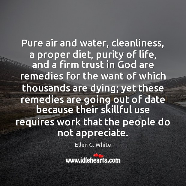 Image, Pure air and water, cleanliness, a proper diet, purity of life, and